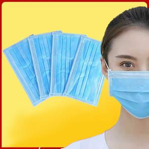 Schutzgesichtsmaske auf Lager earloop Gesichtsmaske 3-Schicht-Vlies Einweg-Gesichtsmaske schnelle Anlieferung 50pcs / Box