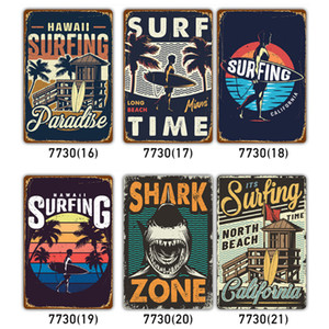 20*30cm Beach Surfing Metal Tin Signs Vintage Posters Metal Plaque Club Wall Home art metal Painting Wall Decor Art Pictures