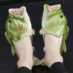 2018 Creative Type Fish Slippers Woman Handmade Personality Fish Sandals Women Bling Flip Flops Slides Fish Beach Slippers