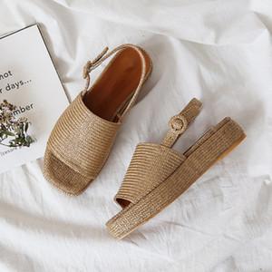 meifeini 2019 yazında yeni dokuma kadın ayakkabıları su geçirmez platformu kalın alt çörek sandalet moda açık ağızlı Roma sandalet