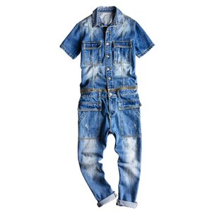 Mcikkny New Fashion Men's Ripped Denim Bib Overalls With Jackets Multi pockets Jeans Jumpsuit For Male Washed Size M-2XL