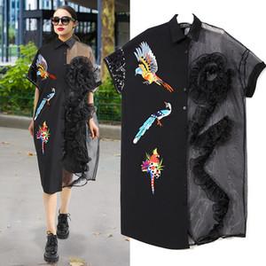 Herrliche Stickerei Frauen Mode Kleid Organza Panelled 3D Blumen Pailletten kurzen Ärmeln Buttons Chic Lady Shirt-Kleider 2020 reale Abbildungen