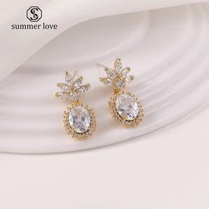 Fashion Designer Jewelry Women Earrings Flower cz Dangle Earrings 925 Sterling Silver Cubic Zirconia Wedding Engagement Jewelry Gift