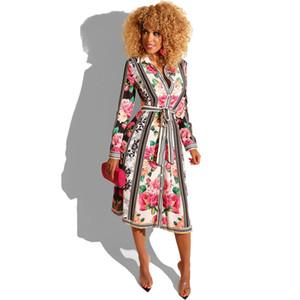 Para mujer otoño vestidos de diseñador de la camisa floral de la moda Vestido estampado de solapa casual cuello Ropa para mujer con los marcos