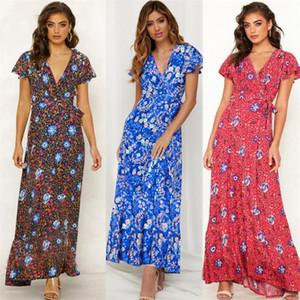 Платья Boho Maxi Long Beach Dress летние женщины V-образным вырезом повседневная Цветочная дизайнерская одежда