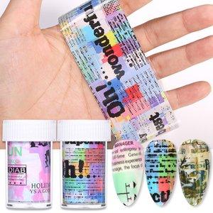 Cheap Stickers Decalques 1 Box Foil Series jornal Foils Transferência Nail Art etiqueta de papel colorido Decorações Nail Art DIY Projeto