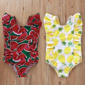 Kinder Ananas Printed Badeanzug-Baby-Wassermelone Einteilige Badebekleidung Mädchen-Sommer-Strand-Rüschen-Badeanzug 1-4Y