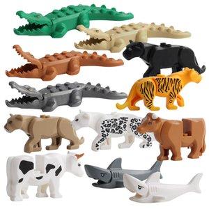 Duplos Figure di modelli animali Grandi blocchi di costruzione Set Crocodile Leopard Shark Bambini Giocattoli educativi per bambini Regalo Brinquedos
