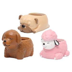 3pcs Résine Flowerpot usine Container Succulent Herb Boîte adorable chien Accueil bricolage décoration