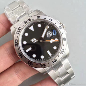 GMT Eller Otomatik Mekanik Paslanmaz Çelik Bilezik erkekler Saatler ile Mens Saatler EXP Siyah 40MM Safir 316 Çelik