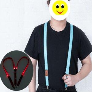 Yeni aydınlık Jartiyer 2.5 * 100 CM LED Askı klipsli yetişkin Elastik 4 klip Ayarlanabilir Parantez erkekler Için 5 katı Renkler Noel hediyesi