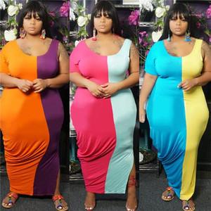 Taille Robe d'été Designer lambrissé Contrast Color Split une épaule V Neck Robes Les femmes des vêtements amples Casual Oversize Femmes 5XL plus