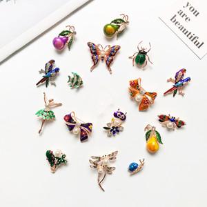 Nueva llegada de esmalte broche de animal peces de colores de insectos loro broches del pájaro para los regalos de las mujeres de los hombres de cristal perla Broche