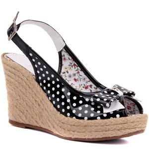 Sail Lakers-Polka Dot Japanned Leather Women 'S Wedges Sandals