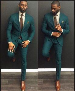 Klas Koyu Yeşil Slim Fit 2019 Damat Smokin Düğün Custom Made Groomsmen Suits İyi Adam Balo Suits (Ceket + Pantolon + Kravat) Artı Boyutu