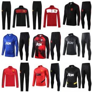 20 21 Manchester hombres del juego del entrenamiento marcial, Rashford ropa deportiva de fútbol de la chaqueta azul de pie trotar 2020 2021 Pogba Estados fútbol chándal