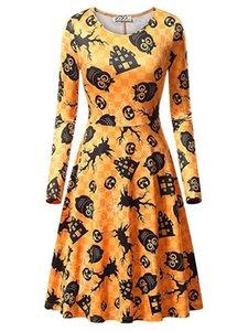 Vestido estampado digital para mujer otoño Fiesta de Halloween Vestidos femeninos Vestido de fiesta de manga larga con cuello redondo causal