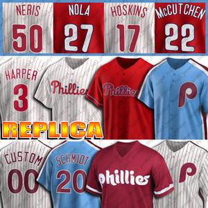 3 브라이스 저지 하퍼 (20) 마이크 슈미트 유니폼 (10) 대런 돌튼 (17)의 Rhys 호스킨스 뉴저지 (27 개) 아론 놀라 유니폼 사용자 정의 야구 유니폼