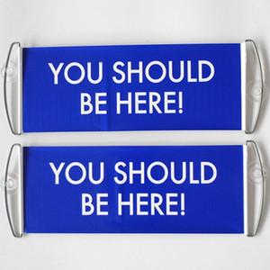 Free Fast Shipping Stock вы должны быть здесь синий знак Ручной скроллинг Double Side Печать Баннер 24x70cm Размер украшения Баннеры