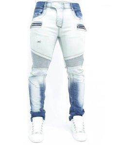 Pantaloni Moda Uomo Zipper jeans da uomo di marca dei pantaloni della matita Mens sbiancato Lavato