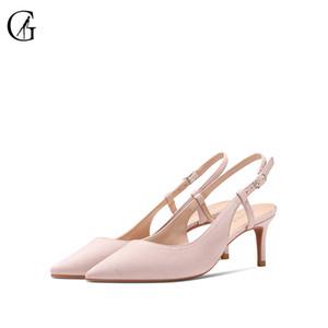 GOXEOU Women's Sandals Flock Pointed Toe Stiletto Heel Slingbacks High Heelds Party Office Fashion Ladies Dress Pump Sizes 32-46