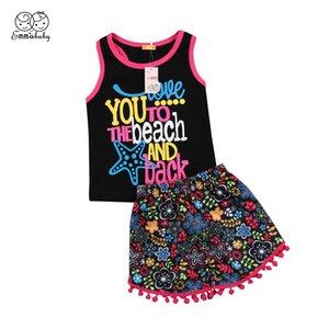 Bebek Çocuk Kız bebekler Çiçek Giyim Kolsuz Tişört + Püskül Pantolon Kıyafetler Seti Çocuk Kız Folk-özel Giyim 6M-5Y