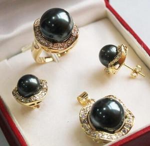 Cospay para mujer Pelucas completas para el cabello Gorgeous Black Shell Pearl Collar Pendientes Conjuntos de anillos Estilo Fino Noble Real Natural
