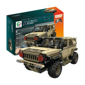 538pcs DIY 2.4G 4H USB Charging Building Block RC Car Toys Simulated Military Vehicle Electric RC Car Model For Kid MoFun-13009