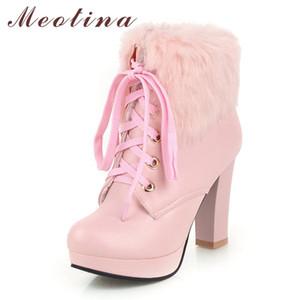 Meotina femme Bottes hiver cheville fourrure extrême talon haut court lacées plateforme épais talon Chaussures Femme grande taille 35-43