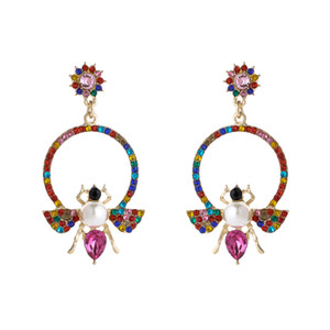 Cute Bee Shape BlingBling Rhinestone Crystal Drop Earrings for Women Girl Party Jewelry Gift