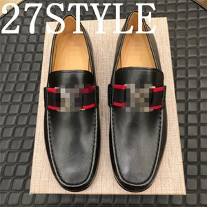 19FS 2020 luxurious Fashion Canvas Business Shoes Doug Leather Pointed Toe Classic Wedding Slip-On Penny Casual Flat Shoes Plus Size 38-45