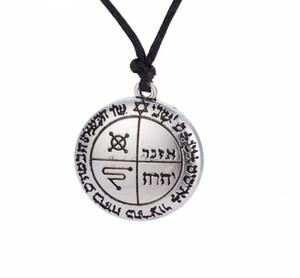 DN040 Nordic Vintage Amulet Religioso Lettera Rotonda Ciondolo Retro Rune Talisman Charm Mens Collana Catena Corda