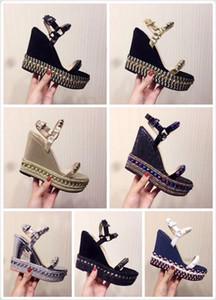 Designers Sandálias de fundo vermelho Cataclou Cork Wedge Shoes Mulheres Espadrille High Heel sandálias de verão Sandálias de plataforma coberta de glitter prata