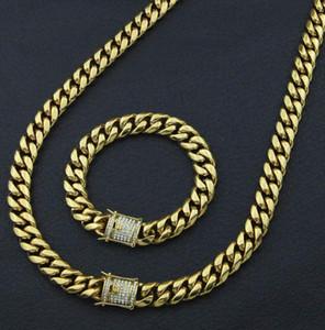 مجموعات مجوهرات الفولاذ المقاوم للصدأ مطلي صب تنين المشبك ث / قلادة الرابط الكوبي الماس