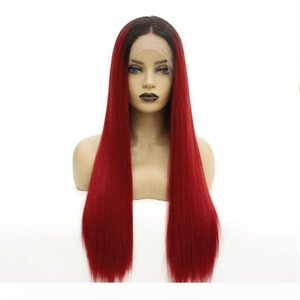Black Roots Ombre Burgundy Middle Part Long Straight Color Wigs Synthetic Lace Front Wigs for Black Women
