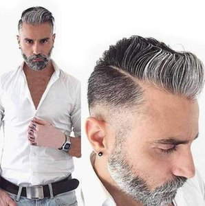 Eversilky Grey Toupee for Men Pezzo per capelli Fine Mono Men's Toupee Virgin Human Hair