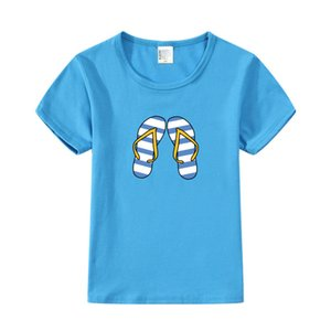 Enfants Bébé Fille Flip Flops Slipper Imprimer Tenues Vêtements T-shirt Tops Été Drôle T-shirt À Manches Courtes T-shirt Infant Garçons De La Mode