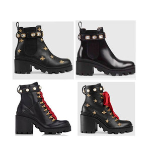 Designer de moda de couro Martin botas de couro botas de moda sapatos de salto abelha pérola sapatos plataforma mulheres amantes do partido tênis de couro genuíno