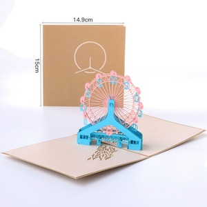 Ruota panoramica 3D Greeting Card creativo Brithday Handmade Greeting Cards personalità Paper-cut Hollow Cards carta per i bambini