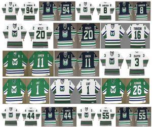 Annata Hartford Whalers maglie 94 BRENDAN SHANAHAN 8 Geoff Sanderson 44 Chris Pronger 55 Keith Primeau 30 MILLEN 28 Larouche RetroHockey