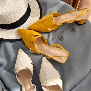 20200607 Summer new style Baotou sandals, fairyland style, Chinese and Korean style, mix and match, pointed thick heel sandals, women wear