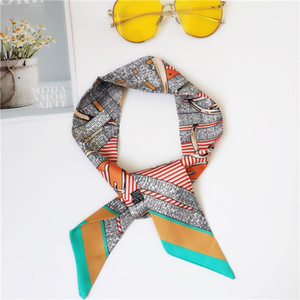 Wholesale silk scarf fashion men and women hair ribbon printed bow silk scarf fashion handbag decorative ribbon 90*5cm 36528