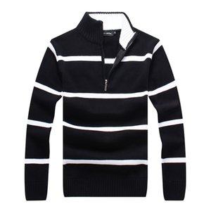 Mens Sweater Pullover Men Brand Designer Hoodie Long Sleeve half zipper Sweatshirt striped Embroidery Knitwear Winter Clothing plus xxxl