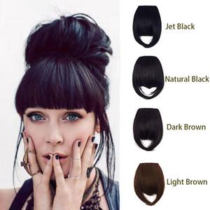 Clip dans les cheveux frange 100% cheveux humains pour les femmes Natural Straight Front Neat Fringe Morceau de cheveux