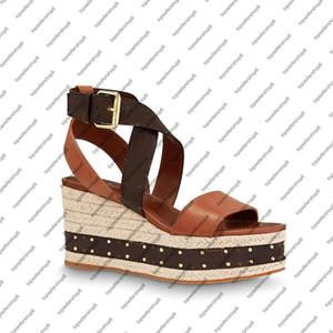 FRONTIÈRE Wedge Sandal femme plate-forme toile Espadrilles sangle 8cm cheville sandale en cuir de veau talon gravé chaussures boucle