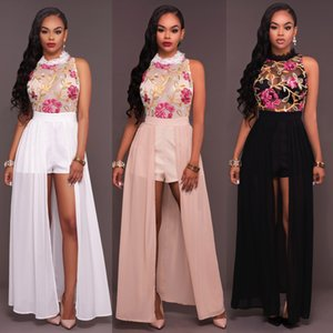 new arrival women elegant jumpsuits lace floral embroidery chiffon retro party tracksuits sleeveless short playsuits T200704