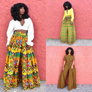 Africano 2020 Notícias Ladies Roupa Dashiki Imprimir Calças Largura Pernas Bazin Feminino Cintura Cintura Alta Ankara Vestidos Africanos para Mulheres T200702