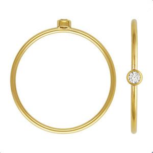 2 millimetri Semplice Solitaire anelli con Cubic Zirconia Wholesale Lots Bulk dell'acciaio inossidabile di modo anello di cerimonia nuziale per le donne
