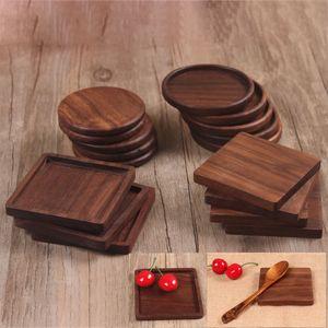 Wooden Coaster Mat di isolamento per il nero Piazza Noce in piatti piani della casa della cucina Strumenti Bar HH9-2280