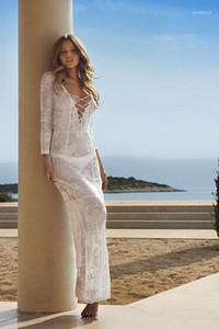여성 니트 꽃 비키니 커버 업 여름 해변 롱 러쉬 최대 가드 패션 붕대 디자이너 커버